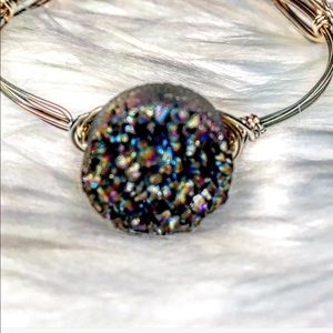Jewelry - 🆕Real Rainbow Druzy Gold Wire Wrapped Bangle